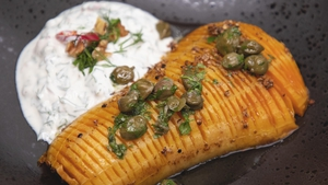 Eunice Power's Hasselback butternut squash with roast walnut and chilli Tzatziki with caper and parsley oil.