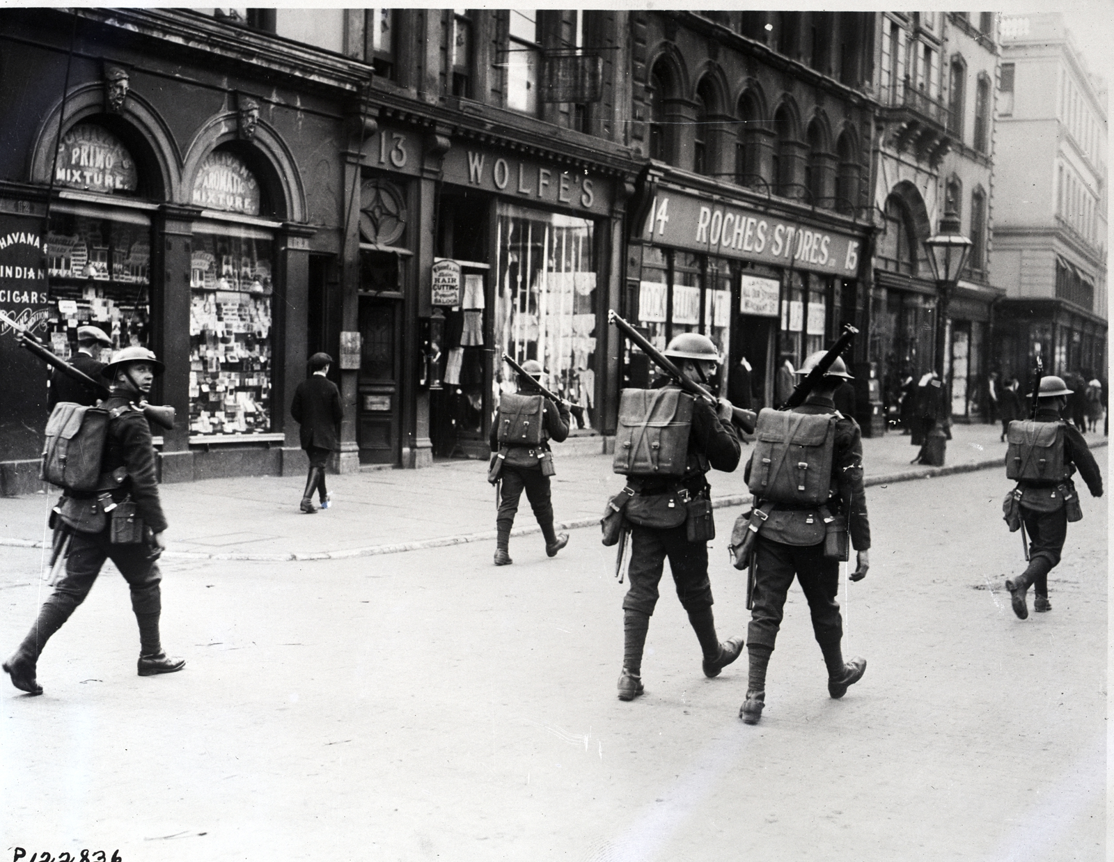 Image - British soldiers patrol the streets of Cork after the declaration of Martial Law. Photo: Getty Images