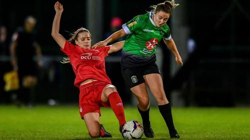 Eleanor Ryan Doyle of Peamount United in action against Shels' Chloe Mustaki last season