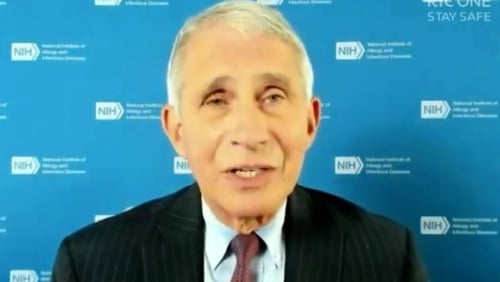 Dr Anthony Fauci speaking on the Late Late Show by video link last night