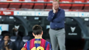 Leo Messi and Ronald Koeman during the Joan Gamper Trophy match between FC Barcelona and Elche CF on 19 September