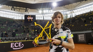 Andrey Rublev of Russia celebrates the victory