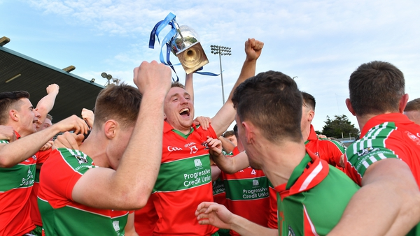 Ballymun Kickhams players celebrate after their commanding win