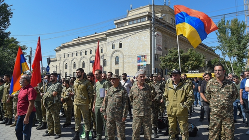 Armenian soliders and supporters gathering before setting off for Nagorno-Karabakh as tensions rise between Armenia and Azerbaijan over the disputed region. Photo: Malik Baghdasaryan/EPA/EFE