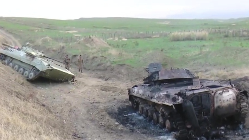A grab taken from a handout video released by the so-called Nagorno-Karabakh (NKR) Defense Army from Youtube claims to show tanks allegedly destroyed in shelling