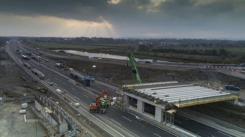 Construction work on the new M7 bridge at Osberstown Interchange, Naas, Co Kildare