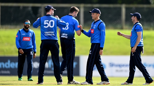 Leinster Lightning players including Peter Chase, centre left, and Jack Tector , centre,