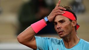 Rafael Nadal reacts as he plays against to Belarus' Egor Gerasimov