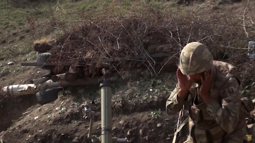 Azerbaijani army serviceman during a military operation at the contact line of the self-proclaimed Nagorno-Karab