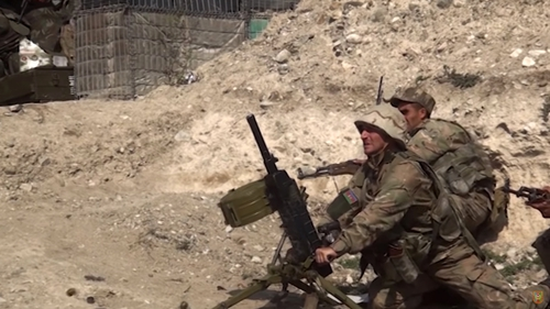 Azerbaijani army serviceman during a military operation