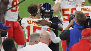 Patrick Mahomes (#15) of the Kansas City Chiefs and Lamar Jackson of the Baltimore Ravens greet each other at the end of the game