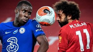 Chelsea's Kurt Zouma (L) in action against Liverpool's Mohamed Salah last season