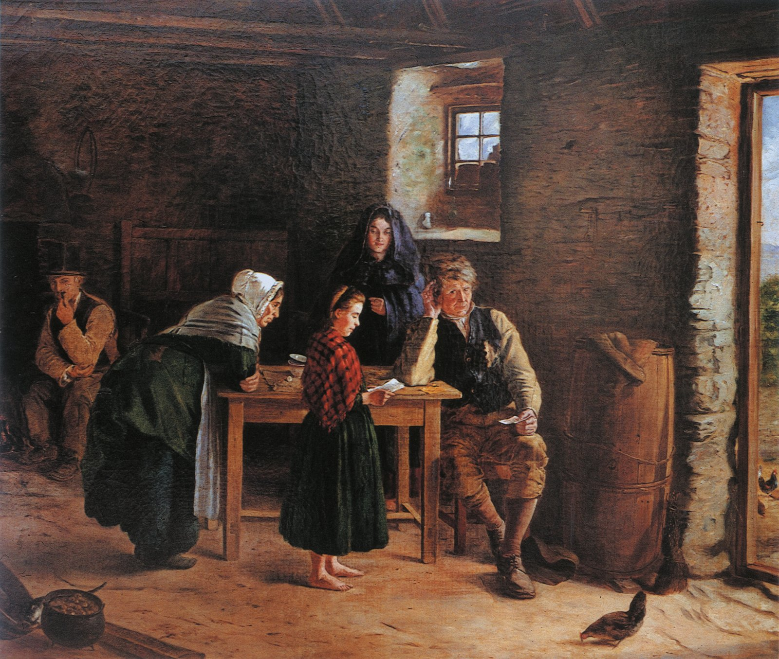 Image - Emigration to America continued to be a part of Irish life, as reflected in James Brenan's painting News from America (1875), oil on canvas. Image courtesy of Crawford Art Gallery, Cork.