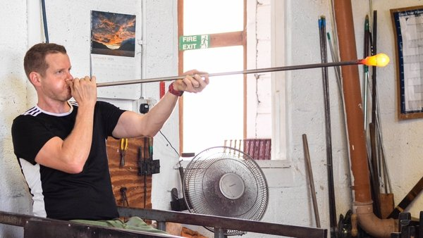 Rory Leadbetter has been blowing glass for 21 years.