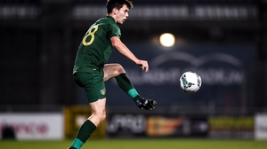 Thomas O'Connor in action for the Republic of Ireland U21s