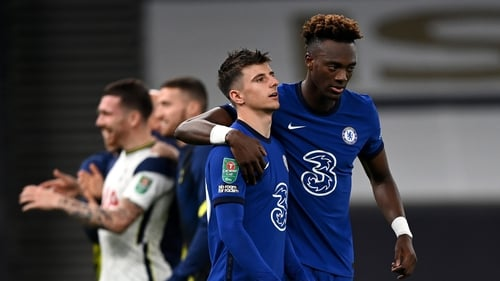 Mason Mount of Chelsea is consoled by Tammy Abraham of Chelsea after he missed his penalty