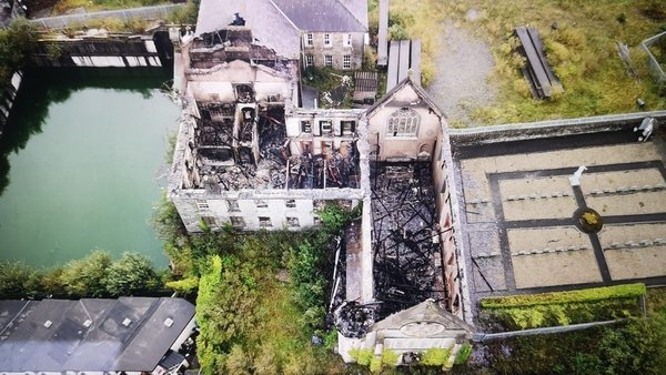 Picture of the damage caused by the fire in the Sisters of Mercy site
