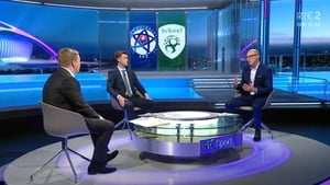 RTÉ Soccer analysts Kenny Cunningham and Alan Cawley with Darragh Maloney