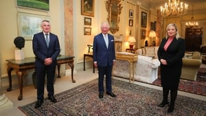 Deputy First Minister Michelle O'Neill and Junior Minister Declan Kearney meet the Prince of Wales at Hillsborough Castle