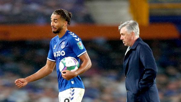 Calvert-Lewin taking home the match ball