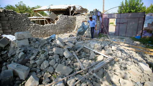 A house damaged following recent shelling clashes between Armenian separatists and Azerbaijan