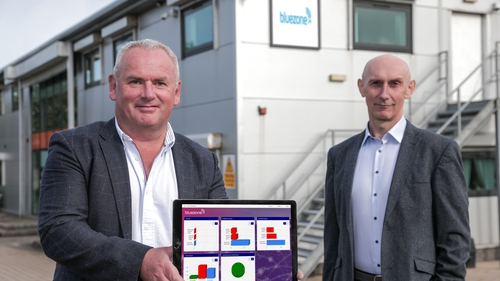 Adrian Byrne, CEO and Pat McDonald, Technical Director at Bluezone Technologies' Newry-based headquarters