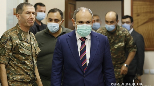 Prime Minister Nikol Pashinyan (C) after a meeting with the military leaders in Yerevan, Armenia