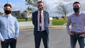 Claddagh fishermenPatrick and Morgan Oliver with Galway Mayor Mike Cubbard