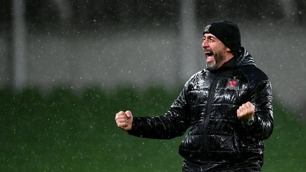 Filippo Giovagnoli celebrates at the final whistle against Ki Klaksvik