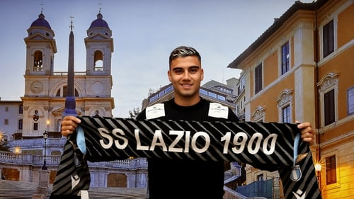 Lazio new signing Andreas Pereira poses as he arrives at Ciampino Airport