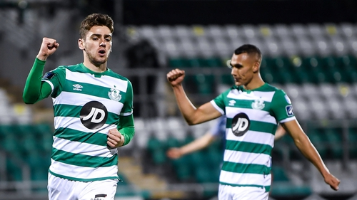 Dylan Watts of Shamrock Rovers celebrates after scoring his side's fourth goal