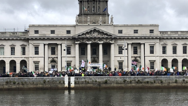 Around 400 to 500 people attended the protest at Custom House Quay