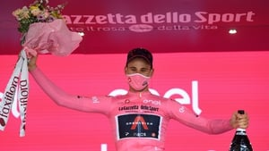 Filippo Ganna with the first Grenadiers Pink Leader Jersey of the 2020 tour