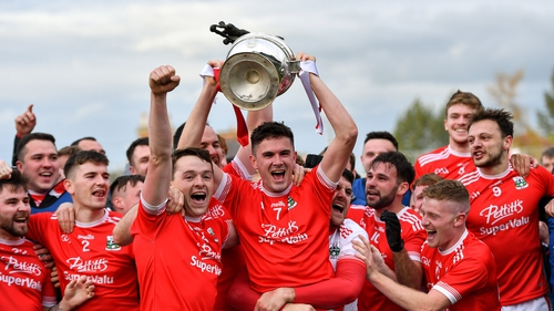 Athy captain David Hyland lifts the Dermot Bourke Cup