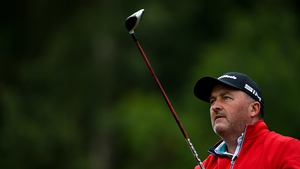 Damien McGrane of Ireland during a practice round ahead of the Dubai Duty Free Irish Open