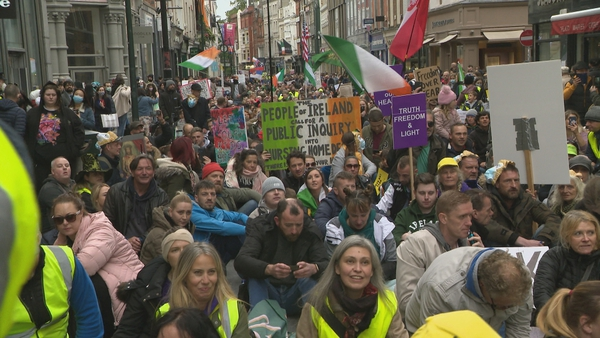 The sit-down protest in Grafton Street yesterday
