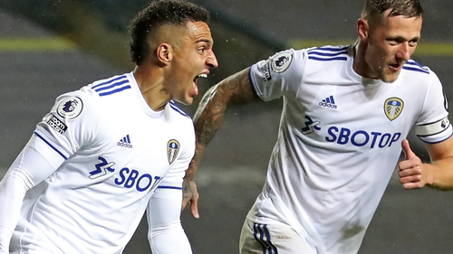 Rodrigo (left) scored Leeds' second-half equaliser