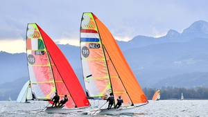 Ireland's Sean Donnelly and Markus O'Leary (L) and the Netherlands' Daniel Bramervaer and Manus Offerman compete in the 49er class