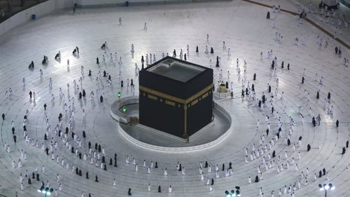 Muslims at the the Kaaba in the Grand Mosque in Mecca. Photo: Getty Images