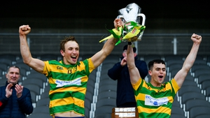 Michael O'Halloran, left, and Cathal McCormack of Blackrock lift the Sean Óg Murphy Cup