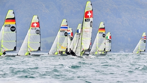 49er class boats compete during the 2020 European Sailing Championships on Lake Attersee