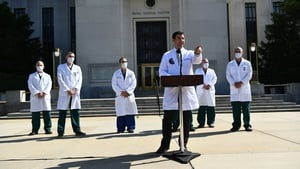 White House physician Sean Conley and doctors at Walter Reed Medical Center where US president Donald Trump was treated for Covid-19 withremdesivir. Photo: Getty Images