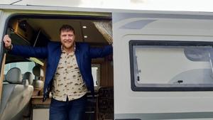 Martin Beanz Ward in his podcast camper van