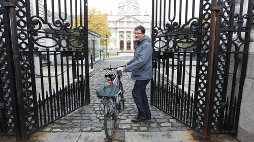 Eamon Ryan entering Government Buildings