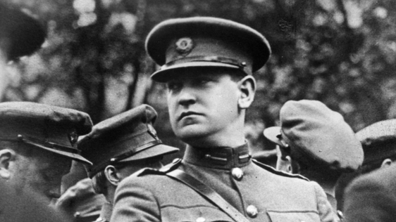 August 1922: Irish soldier and nationalist politician Michael Collins (1890 - 1922), in the uniform of the Irish Free State, at the funeral of Arthur Griffith, the first President of the free state. (Photo by Hogan/Sean Sexton/Getty Images)