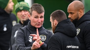 Stephen Kenny chats to Connolly at training