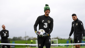 Callum Robinson training with the Ireland side on Monday