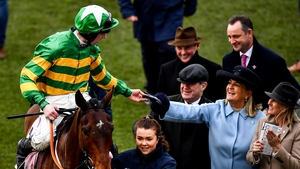 Jockey Mark Walsh and JP McManus after Aramax won the Boodles Juvenile Handicap at the 2020 Cheltenham Festival