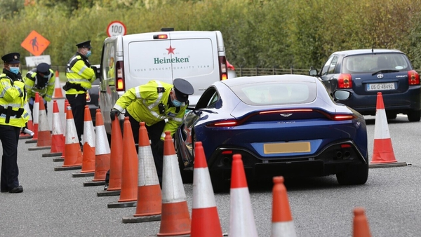 A garda checkpoint on the N11 earlier this month