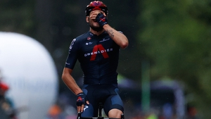 Filippo Ganna celebrates as he crosses the finish line to win the fifth stage of the 2020 Giro d'Italia